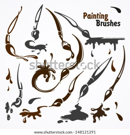 Paint brushes in their work. Blots, lines and strokes. - stock vector