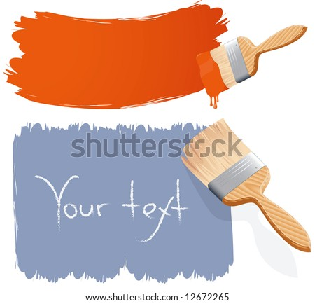 Paint brushes. Vector. - stock vector