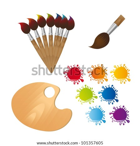 paint brushes with wooden palette and paint. vector illustration - stock vector