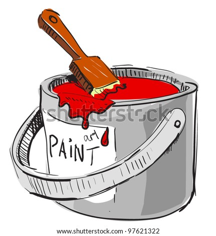 Paint bucket and brush. Colorful hand drawing cartoon sketch illustration in childish doodle style - stock vector