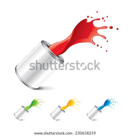 Paint can with splashes isolated on white photo-realistic vector illustration - stock vector