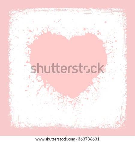Paint Heart from grunge texture paper Valentines day card vector background rose quartz color - stock vector