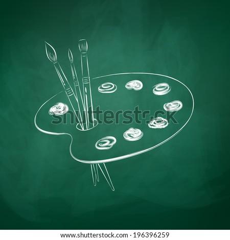 Paint palette. Chalkboard drawing. Vector illustration. - stock vector