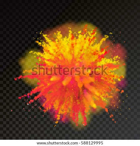 Paint Powder Explosion On Transparent Background. Red, Orange, Yellow And  Purple Dust Explode