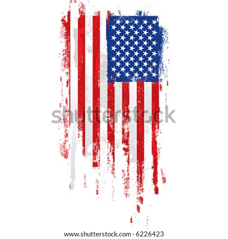 paint roller american flag - stock vector