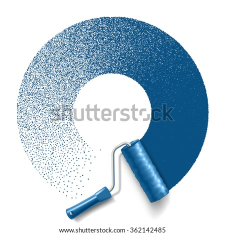 Paint roller brush with blue paint circle track isolated on white background. applicable for banners and labels. Vector illustration. - stock vector