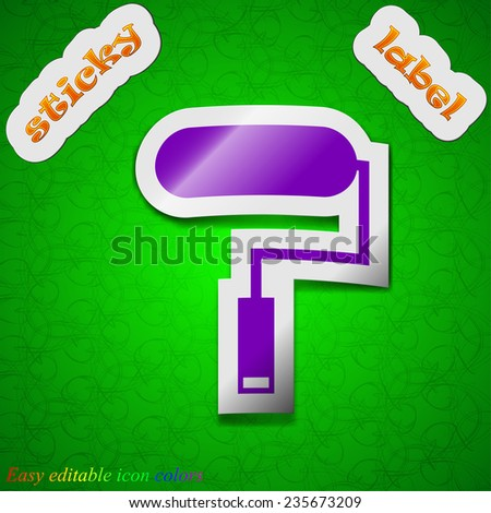 Paint roller icon sign. Symbol chic colored sticky label on green background. Vector illustration - stock vector