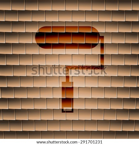 Paint roller icon symbol on a tiled background. Vector illustration - stock vector