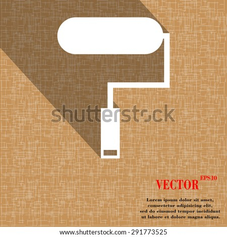 Paint roller icon symbol on abstract geometric background with long shadows. Vector illustration - stock vector