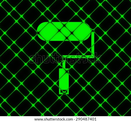 Paint roller icon symbol. On neon green background. Vector illustration - stock vector