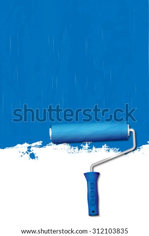 Paint roller - painting the walls blue. Vector illustration. - stock vector
