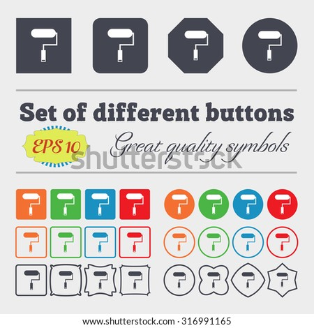 Paint roller sign icon. Painting tool symbol. Big set of colorful, diverse, high-quality buttons. Vector illustration - stock vector
