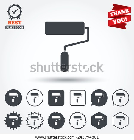 Paint roller sign icon. Painting tool symbol. Circle, star, speech bubble and square buttons. Award medal with check mark. Thank you. Vector - stock vector