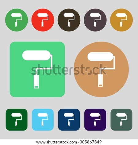 Paint roller sign icon. Painting tool symbol.12 colored buttons. Flat design. Vector illustration - stock vector