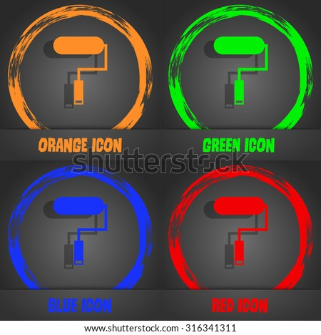 Paint roller sign icon. Painting tool symbol. Fashionable modern style. In the orange, green, blue, red design. Vector illustration - stock vector
