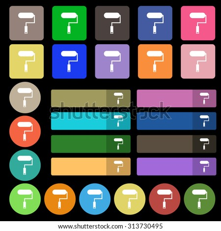 Paint roller sign icon. Painting tool symbol. Set from twenty seven multicolored flat buttons. Vector illustration - stock vector