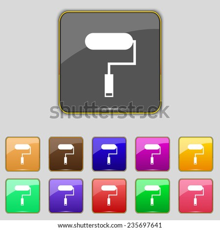 Paint roller sign icon. Painting tool symbol. Set of colored buttons. Vector illustration - stock vector