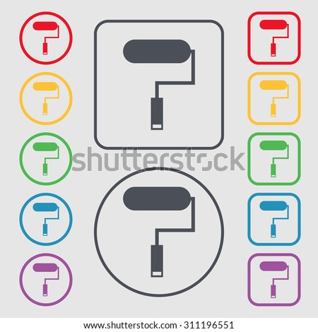 Paint roller sign icon. Painting tool symbol. Symbols on the Round and square buttons with frame. Vector illustration - stock vector
