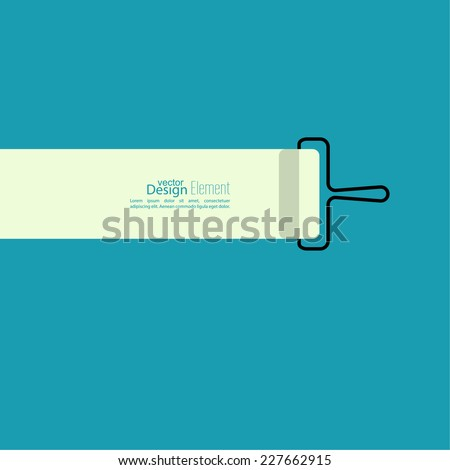 Paint roller with a strip of paint on the blue wall. space for text. flat design. For ads, promotion, announcement and advertising. - stock vector