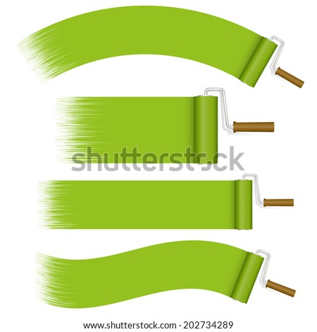 Paint Rollers Set - green - stock vector