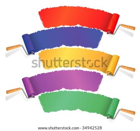 Paint rollers. Vector. - stock vector