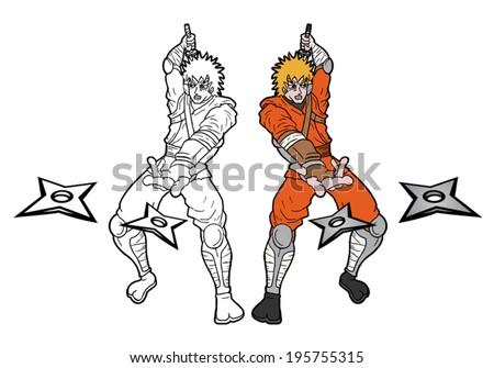 Paint samurai - stock vector