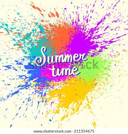 Paint Splash. Summer background - stock vector