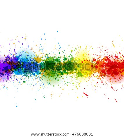 Paint splashes background. Vector colorful banner made of bright stains. Colorful poster
