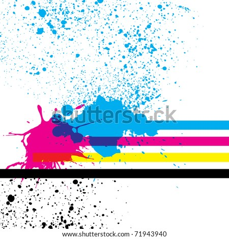 Paint splashes with cmyk colors. Vector illustration. - stock vector