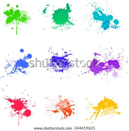 Paint splats abstract art colors - stock vector