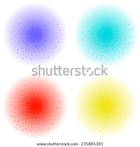 Paint spray effect. Purple, aqua, red, yellow color splashes. Vector clip art illustration isolated on white - stock vector