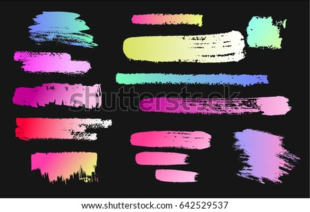 paint stains on a black chalkboard set of elements graffiti style holographic paint neon