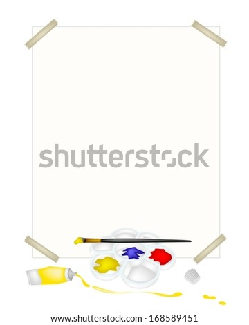 Paint Tubes and Plastic Art Palette With A Craft Paintbrushes or Artist Brushes and A Drawing Paper for Draw and Paint A Picture.  - stock vector