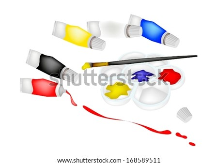 Paint Tubes and Plastic Art Palette With A Craft Paintbrushes or Artist Brushes for Draw and Paint A Picture Isolated on White Background.  - stock vector
