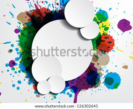paint wallpaper with bubbles for your text as stickers. - stock vector