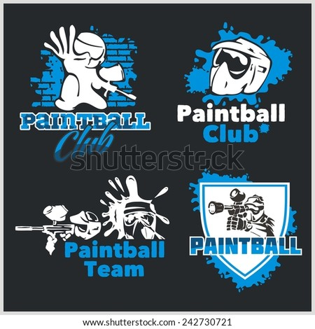 Paintball emblem and logo - vector set - stock vector