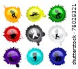 Paintball glass buttons with grunge spots, vector illustration (eps10); two layers, first-  spots, second- buttons with paintball players silhouettes - stock photo