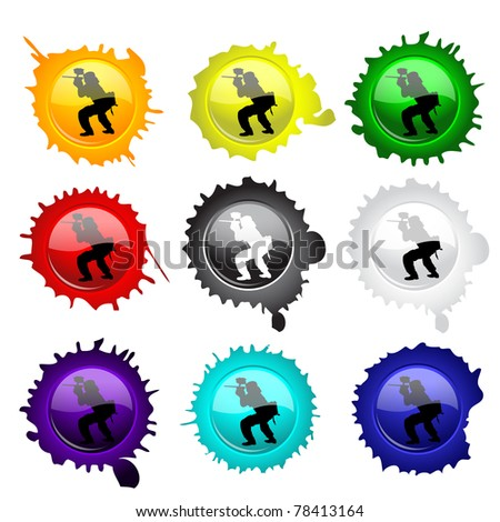 Paintball glass buttons with grunge spots, vector illustration (eps10); two layers, first-  spots, second- buttons with paintball players silhouettes - stock vector