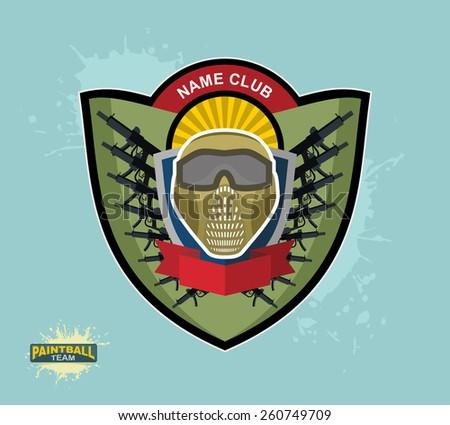 paintball logo emblem. paintball guns and Wings. Mortal Heraldry. - stock vector