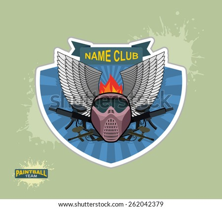 paintball logo emblem. paintball guns and Wings. Mortal Heraldry.
