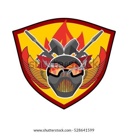 Paintball logo. Military emblem. Army sign. Helmet and weapons. Awesome badge for sports teams and clubs