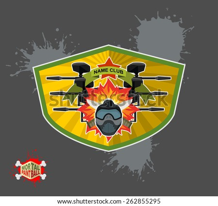 Paintball logo. shield with wings. Emblem  Mortal paintbal - stock vector