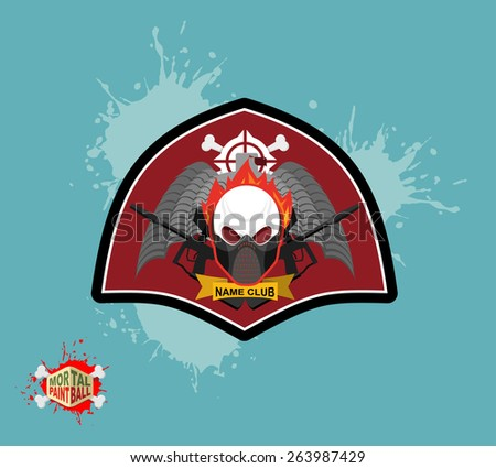 Paintball logo. skul protection mask. Heraldic Shield with wings and arms. Emblem mortal paintball