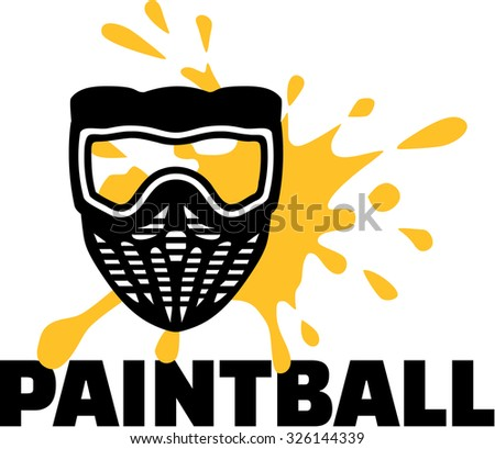 Paintball mask with word paintball and splash