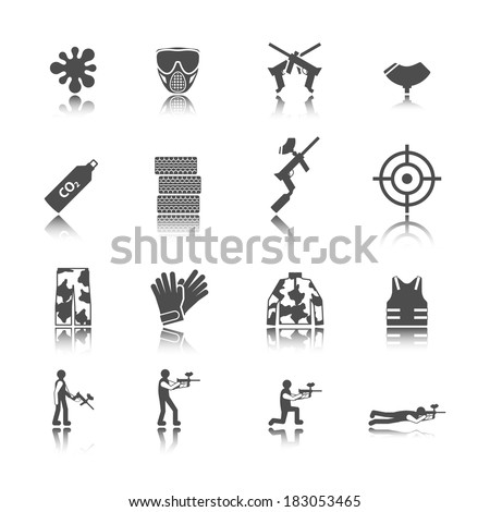 Paintball outdoor game black stickers icons collection isolated vector illustration - stock vector