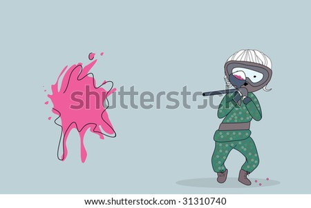 paintball player - stock vector