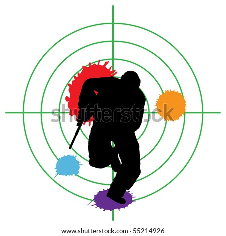 paintball silhouette and a target, vector illustration - stock vector