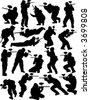 Paintball silhouettes - stock vector