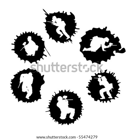 paintball silhouettes into the drops, vector illustration - stock vector