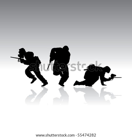 paintball silhouettes with reflection, vector illustration - stock vector